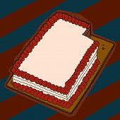 stock photo of fancy cake  - Fancy sheet cake with missing piece over striped background - JPG