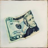 stock photo of twenty dollars  - Instagram filtered image of a torn twenty dollar US bill 20 - JPG