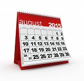 stock photo of august calendar  - August 2015 monthly calendar on white background - JPG