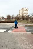 picture of pedestrian crossing  - pedestrian crossing in the city  - JPG