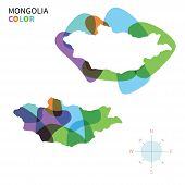 pic of bator  - Abstract vector color map of Mongolia with transparent paint effect - JPG