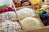 stock photo of breakfast  - Breakfast items in wooden box with grains and berries - JPG