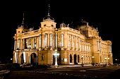 Croatian National Theater In Zagreb At Night