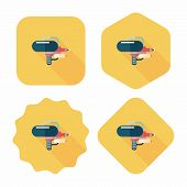 stock photo of guns  - Water Gun Flat Icon With Long Shadow - JPG