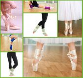 stock photo of ballet barre  - Collage of female feet practicing dance - JPG