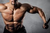 picture of arm muscle  - Brutal athletic man pumping up muscles on crossover - JPG