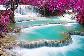 picture of waterfalls  - Turquoise water of Kuang Si waterfall Luang Prabang. Laos