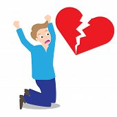 picture of broken heart  - Sad man with broken heart shape background in concept of being broken heart vector - JPG