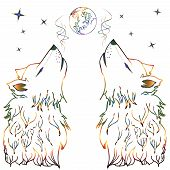 picture of wolf moon  - Abstract colorful wolf howling cartoon sketch style - JPG