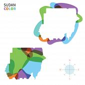 stock photo of north sudan  - Abstract vector color map of Sudan with transparent paint effect - JPG