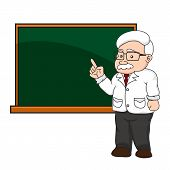 pic of professor  - illustration of a professor or teacher at a chalkboard vector - JPG