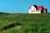 stock photo of farm-house  - Little house in the prairie - JPG