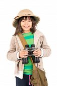 stock photo of binoculars  - Young girl with binoculars playing Safari isolated in white - JPG