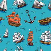 image of tall ship  - Sailing tall ships old wooden yachts boat and anchors colored sketch seamless pattern vector illustration - JPG