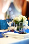 picture of banquet  - Wedding dinner banquet table set up in restaurant - JPG