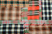 picture of transverse  - background multicolored old wool blanket stitched cell - JPG