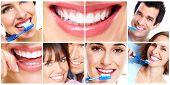 stock photo of toothbrush  - White Teeth with toothbrush - JPG