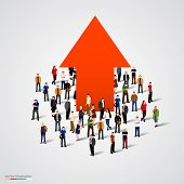 pic of crowd  - Growth chart and progress in people crowd - JPG