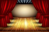picture of soffit  - theater stage with red curtain and wooden floor - JPG