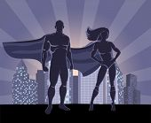 Постер, плакат: Superhero and female superhero silhouettes