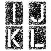 stock photo of letter j  - vector stencil angular spray font letters I J K L - JPG