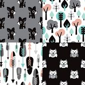 picture of scandinavian  - Seamless scandinavian pastel woodland kids illustration deer owls tree and feathers background pattern set in vector - JPG