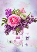 stock photo of vase flowers  - Beautiful spring flowers in vase - JPG