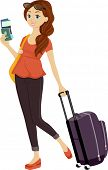 picture of pre-adolescent girl  - Illustration of a Teenage Girl Holding Her Passport in One Hand and Dragging a Piece of Luggage With the Other - JPG