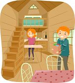 stock photo of tasks  - Illustration of a Couple Living in a Cute Tiny House Going About Their Daily Tasks - JPG