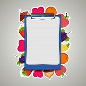 stock photo of prescription pad  - Illustration of a prescription letter pad on fruity background - JPG