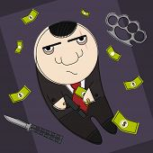 stock photo of mafia  - Dangerous mafia hitman in funny cartoon style illustration - JPG