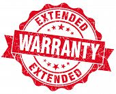 stock photo of extend  - extended warranty red grunge seal isolated on white - JPG