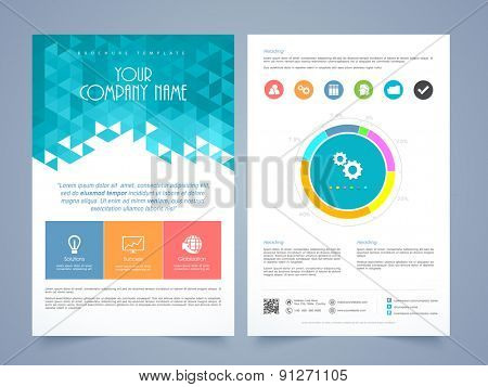 creative two page business flyer template or brochure design with