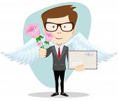 stock photo of postman  - Postman with wings brought flowers and a letter - JPG