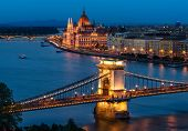 foto of hungarian  - The beautiful Chain Bridge with the Hungarian Parliament in the background during blue hour - JPG