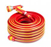 picture of coil  - Red garden coiled hose with handle isolated  - JPG