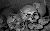 stock photo of catacombs  - cimitero delle Fontanelle Fontanel cemetery in Naples Italy - JPG