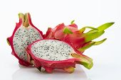 picture of dragon  - dragon fruit slicing on chop block in white background - JPG