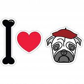 foto of french beret  - I love pug with beret sticker style - JPG