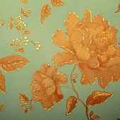 picture of blue rose  - Vintage blue wallpaper with golden rose victorian pattern - JPG