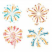 foto of salute  - Set of abstract colorful fireworks and salute - JPG