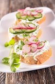 picture of canapes  - bread with radish - JPG