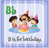 foto of letter b  - Flashcard letter B is for birthday - JPG
