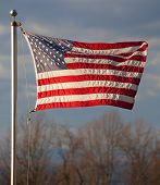 image of virginia  - American flag flying on the Blue Ridge in Virginia with the Shenandoah Valley below - JPG