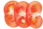 foto of extreme close-up  - sliced tomato on white - JPG
