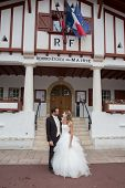 picture of city hall  - Happy and lovely Wedding couple outside city hall - JPG