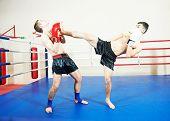 image of boxing ring  - muai thai sportsman fighting at training boxing ring - JPG