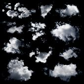 pic of cloud formation  - Set of multiple clouds and cloud formations isolated against the black background - JPG