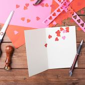 picture of card-making  - Making valentine card and confetti composition over the wooden surface as a copyspace card template - JPG