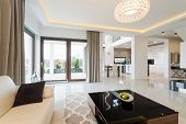 image of enormous  - Modern decor of enormous bright lounge with fancy coffee table - JPG